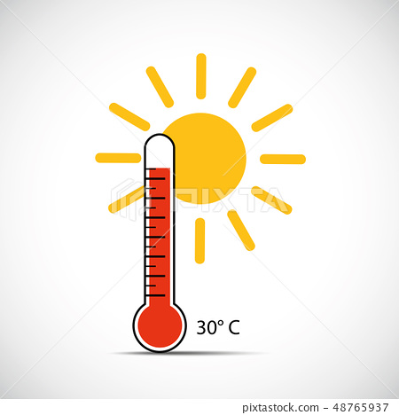 heat thermometer icon 30 degrees summer weather with sunshine 48765937