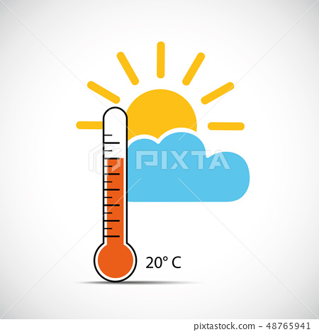 heat thermometer icon 20 degrees sping weather with sunshine 48765941