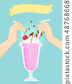 Couple Date Drink Shakes Illustration 48768668