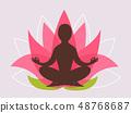 Lotus Silhouette Meditation Illustration 48768687