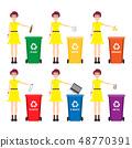 Caucasian woman throwing away garbage. Woman standing near six bins and throwing away garbage in an 48770391