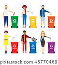 Vector Illustration Of People Recycling Trash 48770469