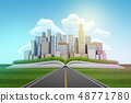 3d rendering of asphalt road leading to city skyscrapers built on an open book on blue sky 48771780