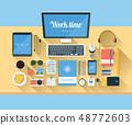 Illustration of modern workspace. 48772603