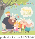 Cute family celebrating Easter. Father, mother, grandfather, grandmother, son, daughter 48774042