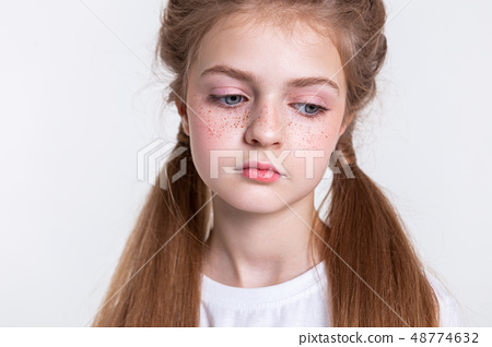 Attractive young girl being sad and dull 48774632