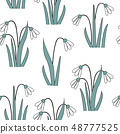 Seamless pattern with the first spring flowers . Vector illustration with graphic snowdrops 48777525