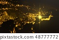 power of south korea, energy beam on seoul. dark map with illuminated cities and human density areas 48777772