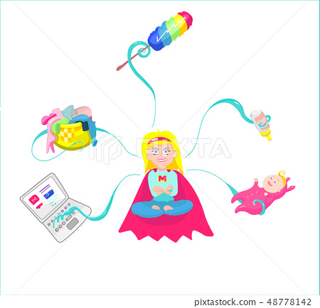 Super Mom - mother with baby, working, etc 48778142