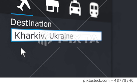 Buying airplane ticket to Kharkiv online. Travelling to Ukraine conceptual 3D rendering 48778540