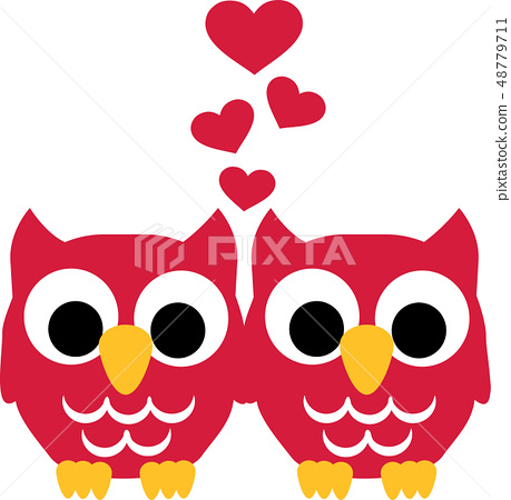 Two Owls in love with hearts 48779711