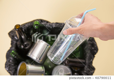Recycling concept, Garbage for recycling with recycling symbol. Environmental protection concept photo. 016 48790011