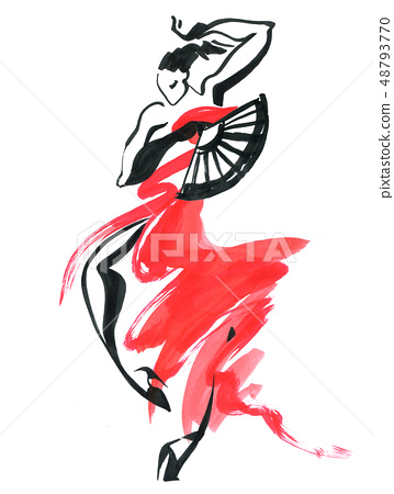 Flamenco. Beautiful Dancing Woman 48793770