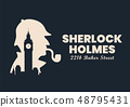 Sherlock holmes silhouette with Big Ben London 48795431