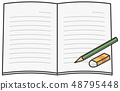 Open notebook with pencil and eraser 48795448