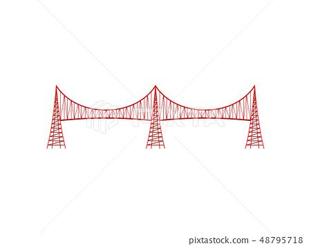 Red metal bridge on white background. Vector illustration. 48795718