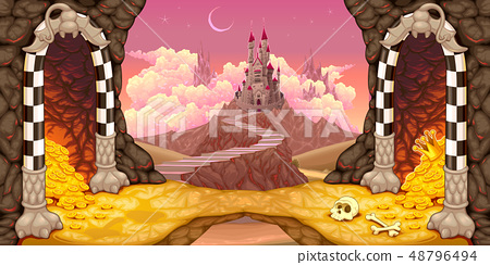 Fantasy landscape with castle, caverns and 48796494
