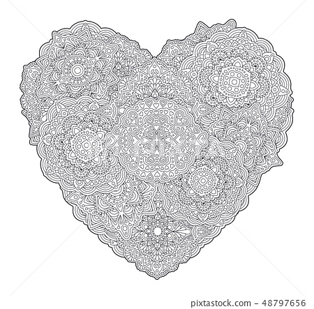 - Detailed Coloring Book Page With Shape Of Heart - Stock Illustration  [48797656] - PIXTA