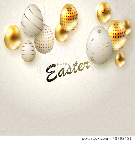 Easter light composition with eggs on pendants in gold and white, 48798451