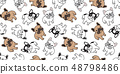 Dog seamless pattern french bulldog vector repeat 48798486