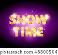 Show time bulb letters advertisement vector illustration. Colorful background. 48800504