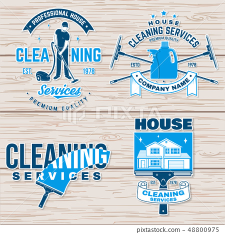Cleaning company badge, emblem. Vector illustration. Concept for shirt, stamp or sticker. Vintage 48800975