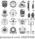 Set of basketball college club badge. Vector. Concept for shirt, print, stamp or tee. Vintage 48800986