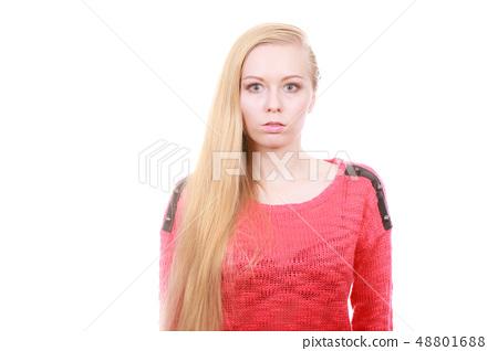 Portrait of blonde, charming teenage girl 48801688