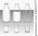 Set of realistic glasses and bottles with a milk. 48803277