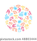 Dancing Signs Thin Line Icon Round Design Template Ad. Vector 48803444