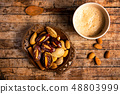Coffee and snacks on a table top view 48803999