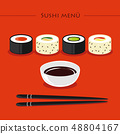 Colorful sushi set of different types chopsticks with soy sauce on orange background 48804167