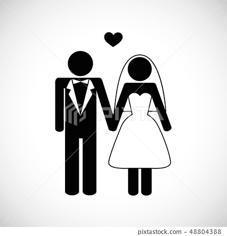 young wedding couple pictogram man and woman 48804388