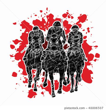 Horse racing Jockey riding horse Horseman vector 48806507