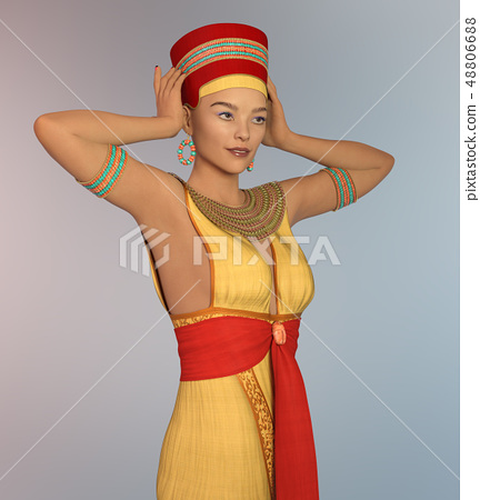 3D woman in Cleopatra costume 48806688