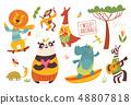 Big set of cartoon wild forest animals. 48807818