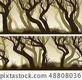 Horizontal banners with curved trees forest. 48808036