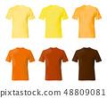 Shirt design template. Set men t shirt yellow, 48809081