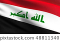 Iraq national flag blowing in the wind isolated. 48811340