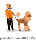 Blind Man with Guide Dog Cartoon Illustration 48812354