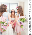 Happy mother's day concept. Cute little daughters 48813604