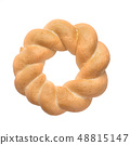 Round challah, braided white bread in the form of a ring, isolated on white background. 48815147