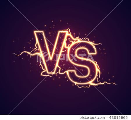 Versus Sign Vs Glow Symbol Vector Illustration Stock