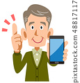 拿着智能手机的老人手中解释关键点 48817117