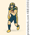 American football player, Sportsman action vector 48819301