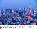 Tokyo city scenery Tokyo tower light up 48820113