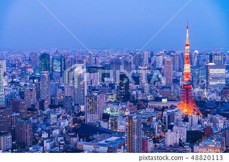 도쿄 도시 풍경 도쿄 타워 라이트 업 48820113