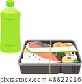 商业盒装午餐和塑料瓶茶 48822916