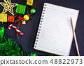 Top view image of Christmas festive decorations 48822973