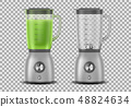 Set of Realistic Juicer blender. Kitchen blender with organic green vegetable juice and empty, drink 48824634